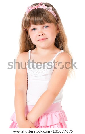 Portrait of a sad little girl, isolated on white background - stock photo