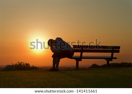 A Girl Sitting Alone In The Sunset Sketch Portrait of a Sad or unhappy