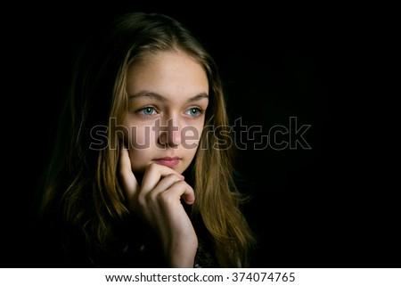 portrait of a sad teenage girl.  - stock photo