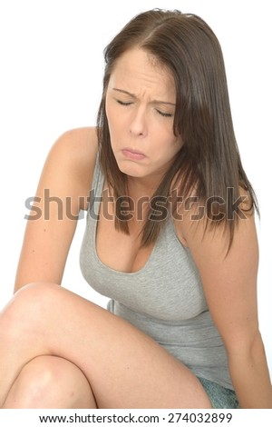 Portrait of a Sad Unhappy Attractive Young Woman in Her Twenties in Distress and Worried - stock photo