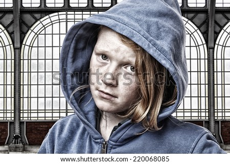 Portrait of a sad young girl - stock photo