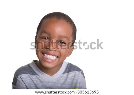 Portrait of a school aged child - stock photo