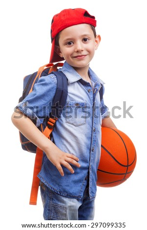 Portrait of a school boy holding a basketball, isolated on white background - stock photo