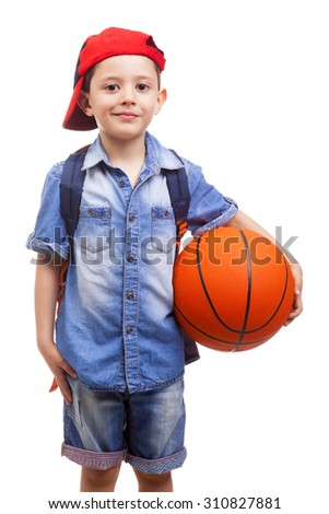 Portrait of a school kid holding a basketball, isolated on white background - stock photo