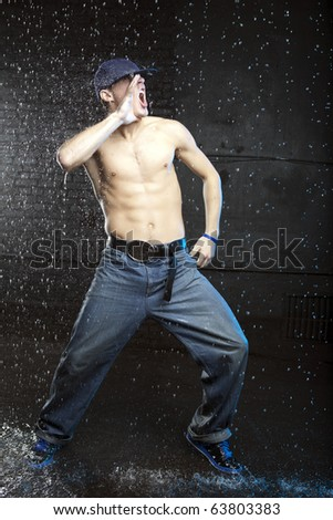 Portrait of a screaming dancer - stock photo