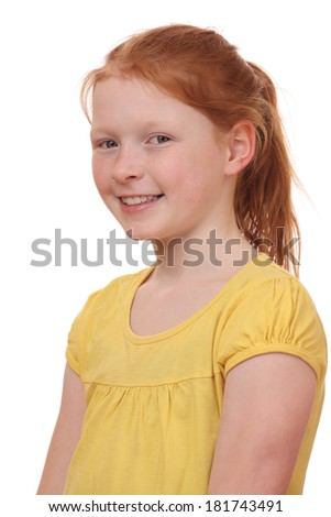 Portrait of a self confident girl on white background - stock photo