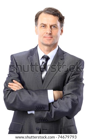 Portrait of a senior business man isolated on white. - stock photo