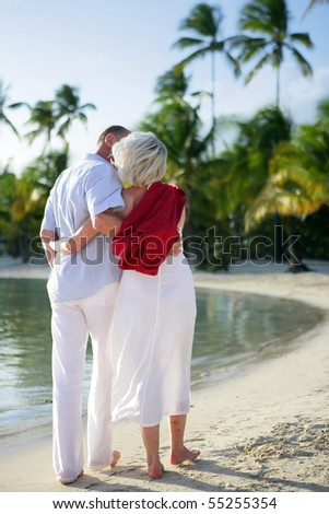 Portrait of a senior couple having a walk at the seaside - stock photo