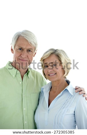 Portrait of a senior couple in love. Isolated on white background with copy space. - stock photo