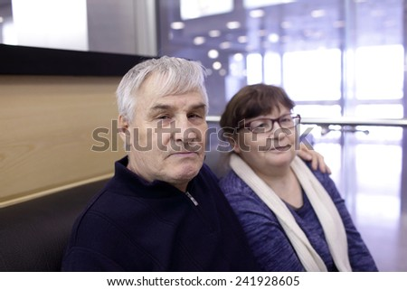 Portrait of a senior couple in the restaurant - stock photo