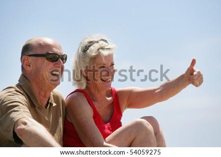 Portrait of a senior couple smiling - stock photo