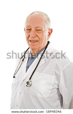 portrait of a senior doctor isolated on white - stock photo