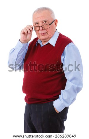 Portrait of a Senior elderly teacher man with glasses, wearing cardigan marsala color and blue shirt, isolated on white background. Human emotions and facial expressions. Education concept