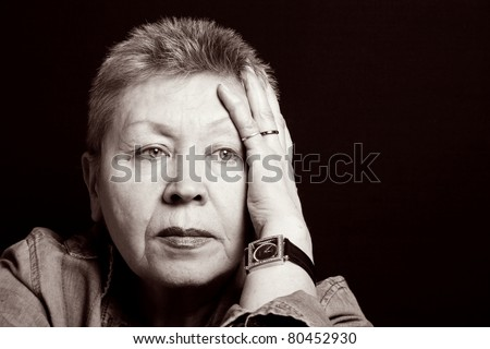 portrait of a senior lady upset feelings. - stock photo
