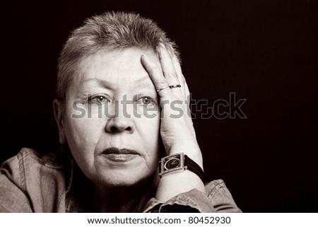 portrait of a senior lady upset feelings. - stock photo