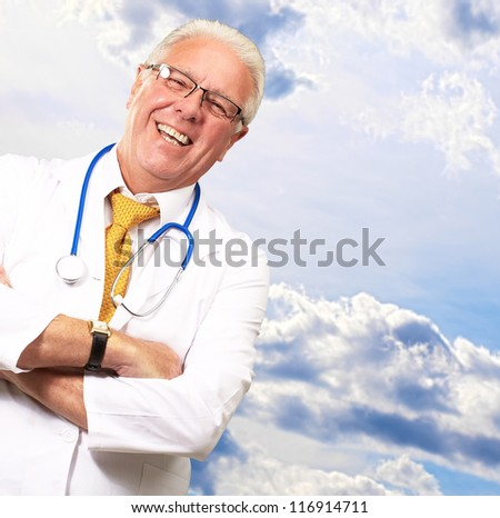 Portrait Of A Senior Man Doctor, Outdoor - stock photo