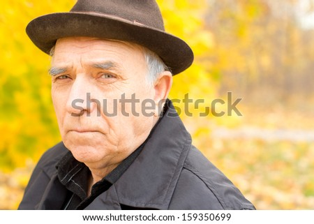Portrait of a senior man in a warm hat and overcoat outdoors in a colourful yellow forest with copyspace - stock photo