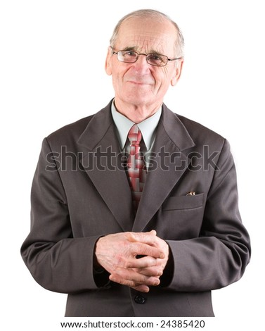 Portrait of a senior man in suit, isolated over white background - stock photo