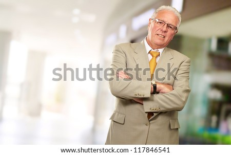 Portrait Of A Senior Man, Indoor - stock photo