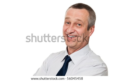 portrait of a senior man isolated on white background - stock photo