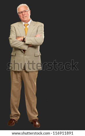 Portrait Of A Senior Man On Black Background - stock photo