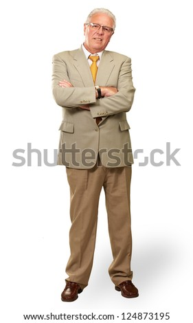 Portrait Of A Senior Man On White Background - stock photo