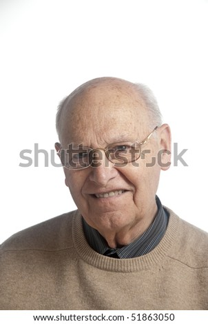 Portrait of a senior man over white background