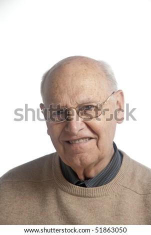 Portrait of a senior man over white background - stock photo