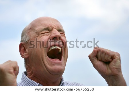 Portrait of a senior man screaming - stock photo