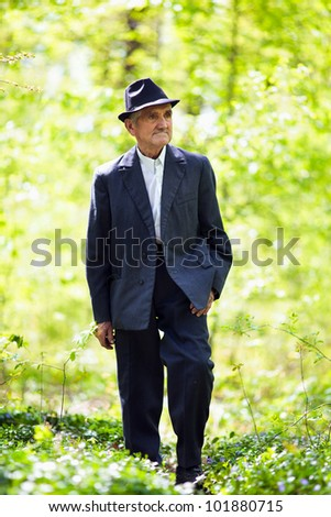 Portrait of a senior man walking in the forest - stock photo