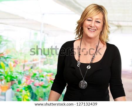 Portrait Of A Senior Woman, Indoors - stock photo