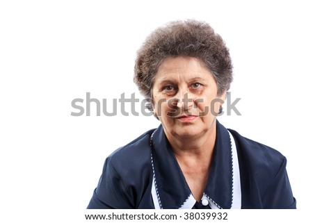 Portrait of a senior woman isolated on white background