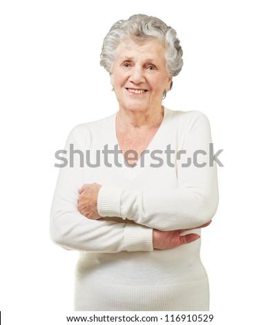 Portrait Of A Senior Woman On White Background - stock photo
