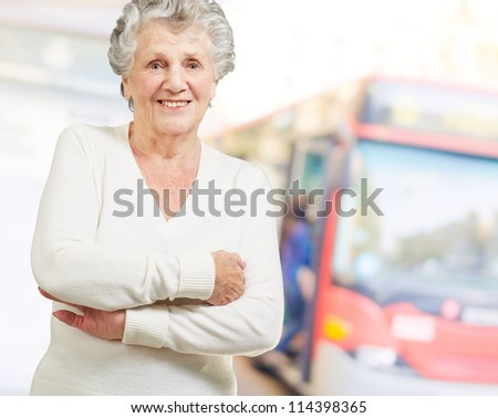 Portrait Of A Senior Woman, Outdoor - stock photo