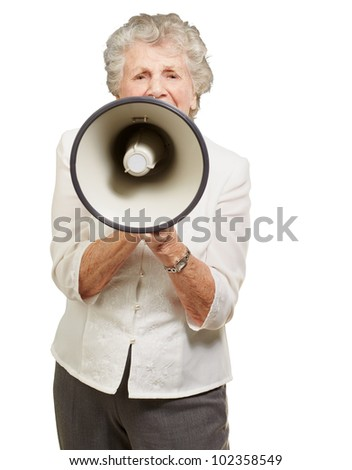 portrait of a senior woman screaming with a megaphone over a white background - stock photo