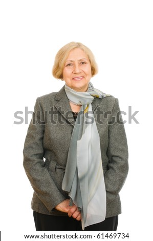 Portrait of a senior woman standing confidently isolated on white background - stock photo