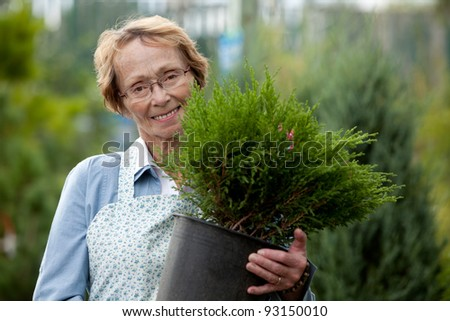 Portrait of a senior woman standing with a small tree - stock photo