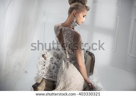 Portrait of a sensual blonde beauty - stock photo