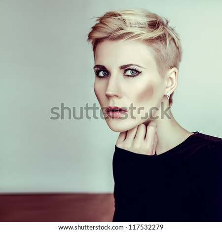 portrait of a sensual woman - stock photo