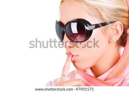 Portrait of a sensuality blond girl in sunglasses