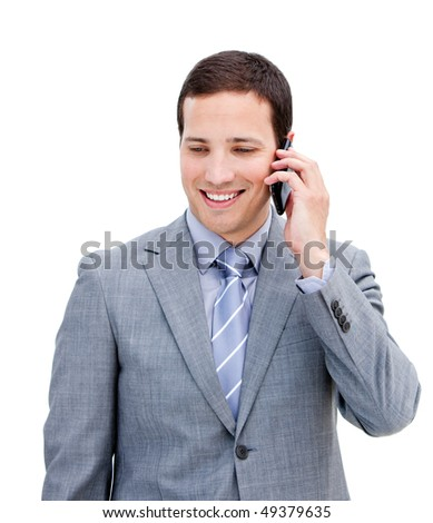 Portrait of a serious businessman on phone against a white background - stock photo