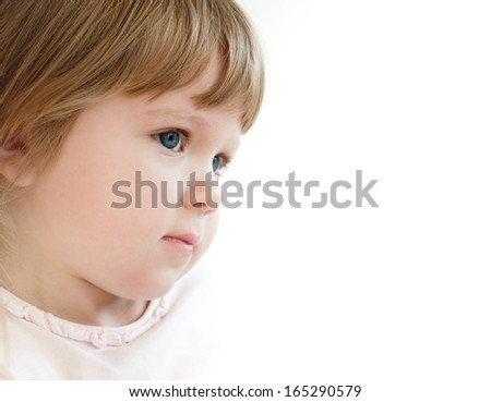 portrait of a serious child - stock photo