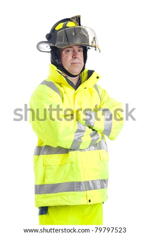 Portrait of a serious firefighter, isolated on white background. - stock photo