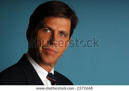 Portrait of a serious Handsome Attorney in Suit and Tie