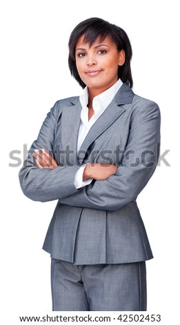 Portrait of a serious hispanic businesswoman with folded arms isolated on a white background - stock photo