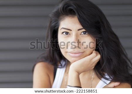 Portrait Of A Serious Spanish Woman  - stock photo