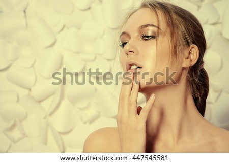 Portrait of a sexual young woman over white floral background. Spa girl, bodycare. Skincare, healthcare. Studio shot.