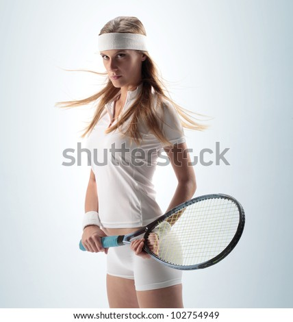 portrait of a sexy Female Tennis Player - stock photo
