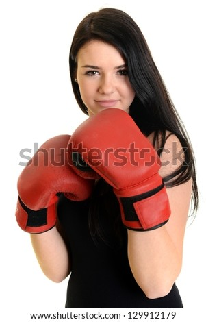 Portrait of a sexy fitness woman ready to fight. Isolated on white with copy space.