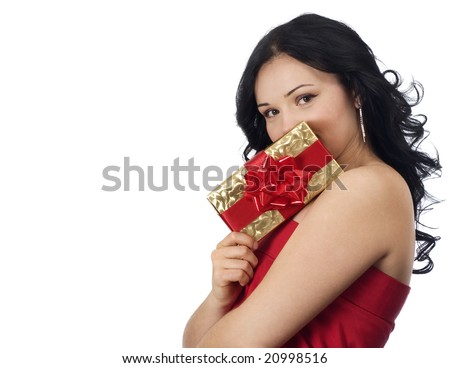 portrait of a sexy girl holding a gift - stock photo
